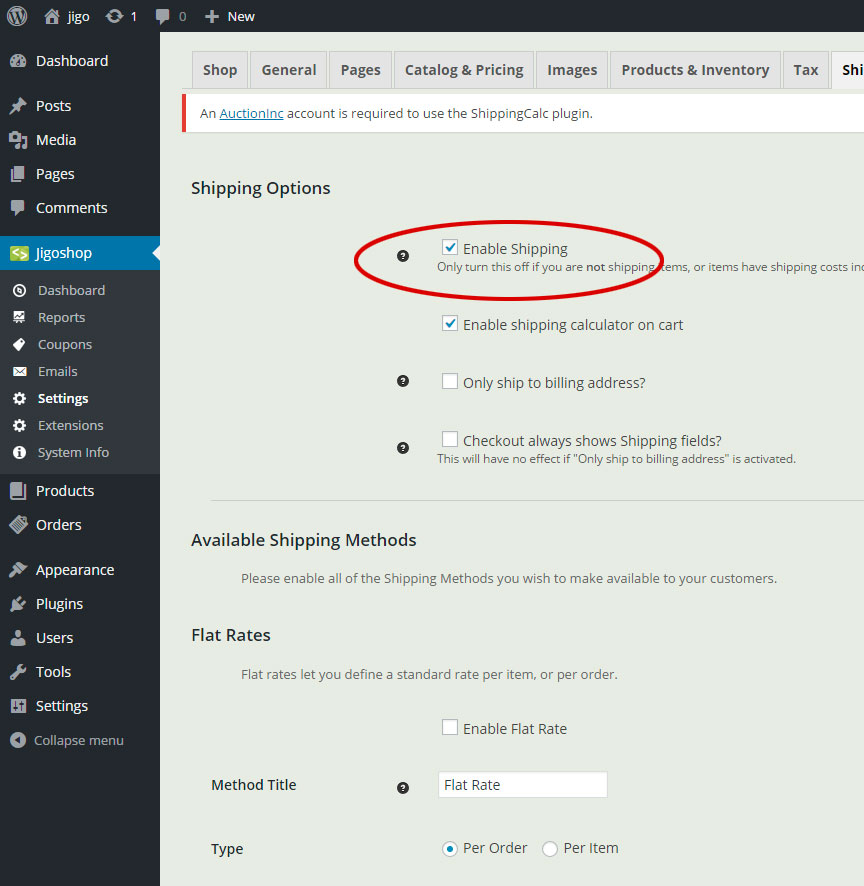 Enable Shipping in Jigoshop