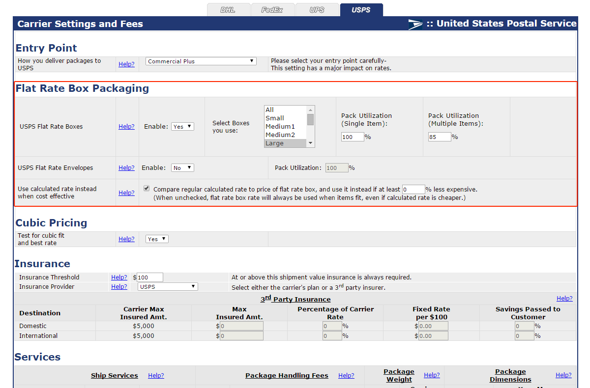 Advanced USPS Flat Rate Box Settings